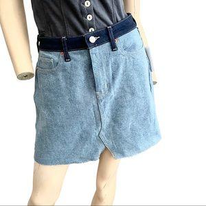 Etica Lucy Raw hem contrast denim mini skirt- 28